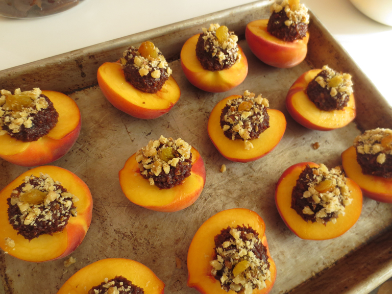Chocolate Stuffed Peaches